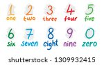 hand drawing numbers and names... | Shutterstock .eps vector #1309932415