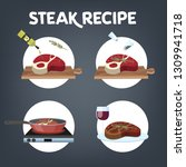 how to cook steak recipe.... | Shutterstock .eps vector #1309941718