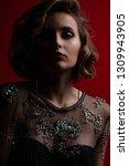 portrait of gorgeous brunette... | Shutterstock . vector #1309943905