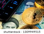 bitcoin and banknotes of... | Shutterstock . vector #1309949515