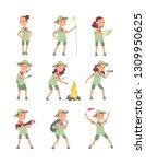 children scouts. cartoon kids... | Shutterstock .eps vector #1309950625