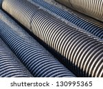 black plastic goffered pipes...   Shutterstock . vector #130995365