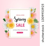 spring sale background with... | Shutterstock . vector #1309953925