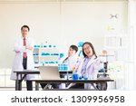 scientists are lazy in the lab | Shutterstock . vector #1309956958