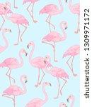 elegant flamingo on blue...   Shutterstock .eps vector #1309971172