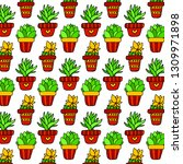 doodle art cactus pattern vector | Shutterstock .eps vector #1309971898