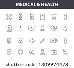 set of 24 medical and health... | Shutterstock .eps vector #1309974478