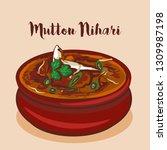 mutton nihari or nalli nihari... | Shutterstock .eps vector #1309987198