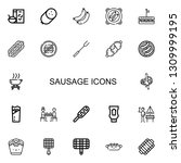 editable 22 sausage icons for... | Shutterstock .eps vector #1309999195