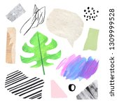 artistic abstract collage set... | Shutterstock . vector #1309999528