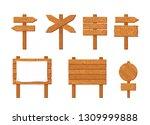 set of wooden signboards.... | Shutterstock .eps vector #1309999888