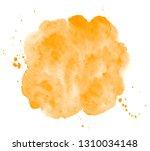 bright orange watercolor round... | Shutterstock . vector #1310034148