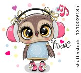 cute cartoon owl girl with pink ... | Shutterstock .eps vector #1310039185