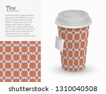 cardboard paper cup of tea with ... | Shutterstock .eps vector #1310040508