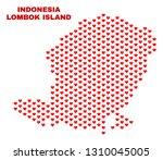 mosaic lombok island map of... | Shutterstock .eps vector #1310045005