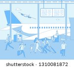 airport terminal. people inside ... | Shutterstock .eps vector #1310081872