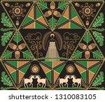 pysanky. traditional ukrainian... | Shutterstock .eps vector #1310083105