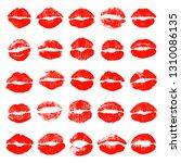 set of lip prints. kisses of...   Shutterstock .eps vector #1310086135