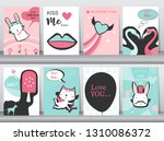 set of valentine's day card on... | Shutterstock .eps vector #1310086372