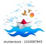 paper ship swimming in sea... | Shutterstock .eps vector #1310087845