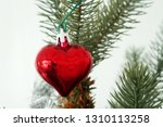 red heart hanging on christmas...   Shutterstock . vector #1310113258