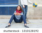 teenager studends relaxing... | Shutterstock . vector #1310128192