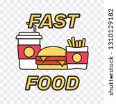 fast food snacks and drinks... | Shutterstock .eps vector #1310129182