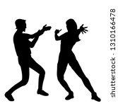 black silhouette people dancing | Shutterstock .eps vector #1310166478