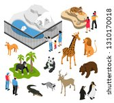 isometric set of animals and... | Shutterstock .eps vector #1310170018