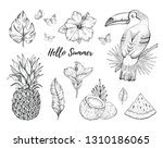 hello summer tropic set. fruit  ... | Shutterstock .eps vector #1310186065