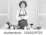 woman pretty chef wear hat and...   Shutterstock . vector #1310219725