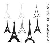 vector eiffel tower set | Shutterstock .eps vector #1310231542