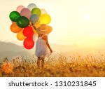young happy child girl with... | Shutterstock . vector #1310231845