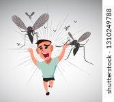 boy runs away from mosquitoes   ...   Shutterstock .eps vector #1310249788