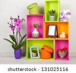 beautiful colorful shelves with ... | Shutterstock . vector #131025116