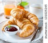 breakfast with croissants... | Shutterstock . vector #131025245
