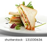 club sandwich with salmon and... | Shutterstock . vector #131030636
