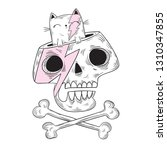 funny vector cartoon skull and... | Shutterstock .eps vector #1310347855