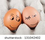 two funny smiling eggs in a...   Shutterstock . vector #131042402