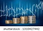golden coins stacks on... | Shutterstock . vector #1310427442