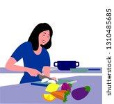 vector illustration of a woman... | Shutterstock .eps vector #1310485685