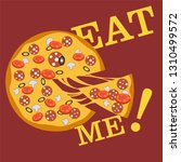 pizza with the cut off slice... | Shutterstock .eps vector #1310499572