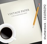 sheets of paper  pencil and cup ... | Shutterstock .eps vector #131050292
