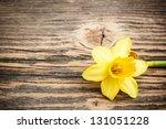 Yellow Daffodil On Rustic...