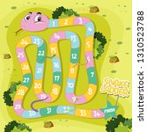 a snake ladder game template...   Shutterstock .eps vector #1310523788
