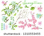 design set with blooming apple... | Shutterstock . vector #1310553455