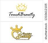 yellow gold line art crown... | Shutterstock .eps vector #1310612105