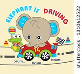 Stock vector elephant ride the car 1310612522