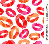 seamless pattern with lips... | Shutterstock .eps vector #1310639942
