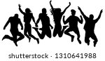 jumping friends youth... | Shutterstock .eps vector #1310641988